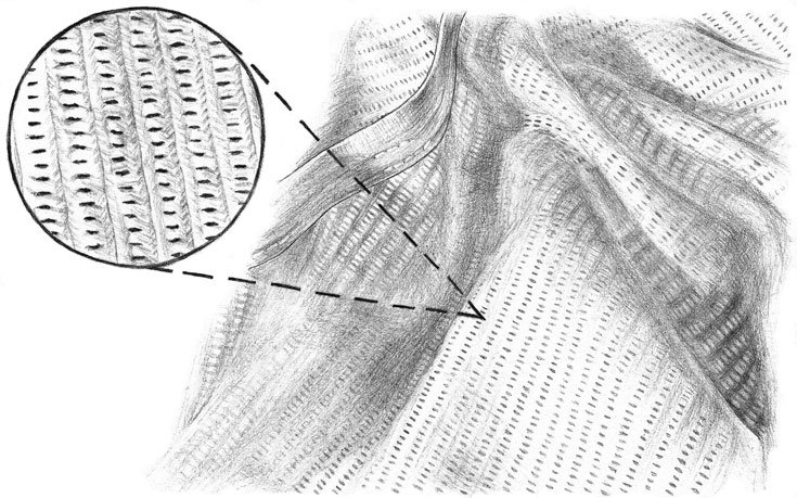 Illustration of Sunspel's Cellular Cotton Fabric