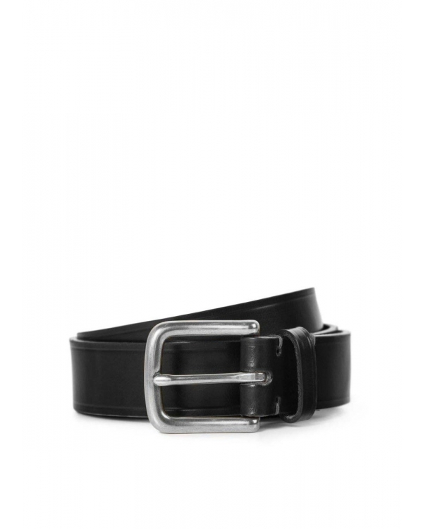 30mm Chunky Leather Belt in Black