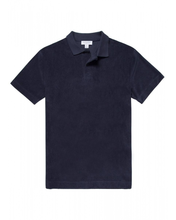 Men's Organic Cotton Towelling Relaxed Fit Polo Shirt in Navy