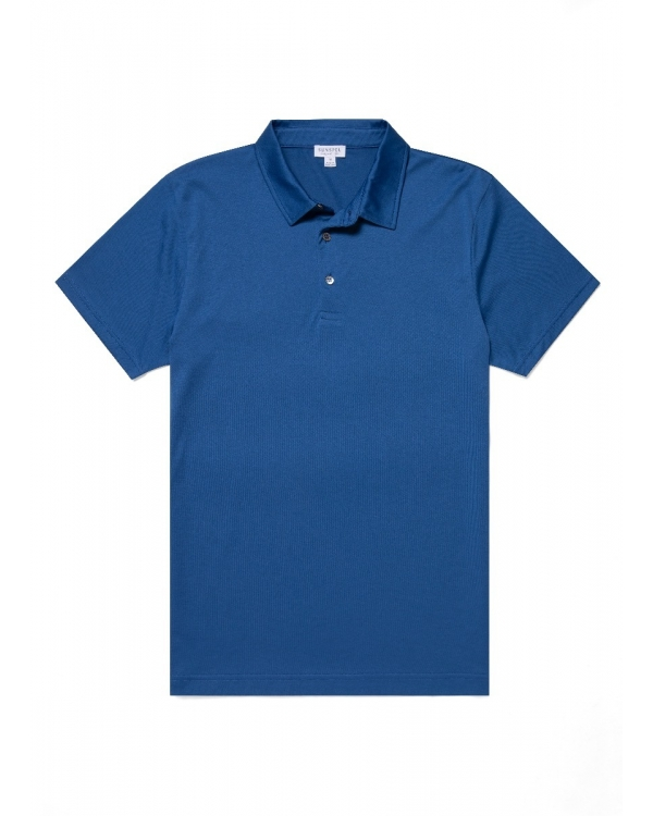 Men's Cotton Jersey Polo Shirt in Ink
