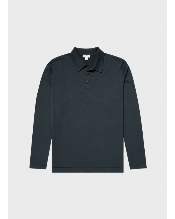 Men's Sea Island Cotton Knit Long Sleeve Polo in Forest