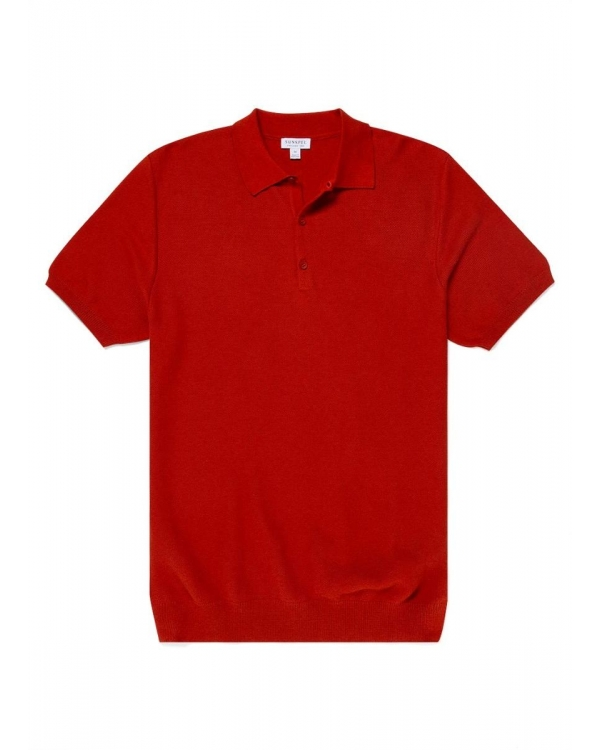 Men's Cotton Fine Texture Knitted Polo Shirt in Burnt Orange