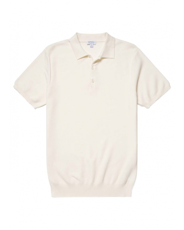 Men's Cotton Fine Texture Knitted Polo Shirt in Ecru