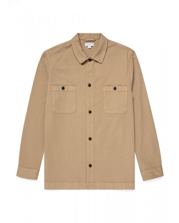 Men's Cotton Drill Overshirt in Stone