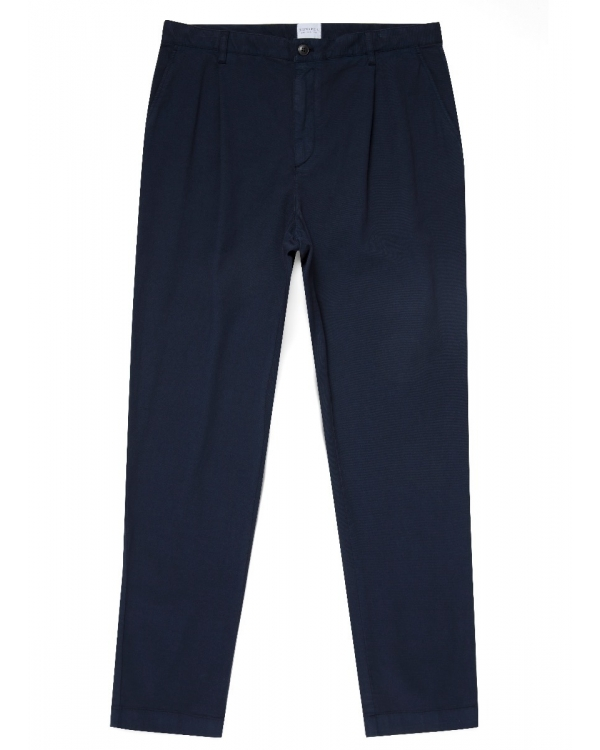 Men's Cotton Drill Relaxed Fit Pleat Trouser in Navy