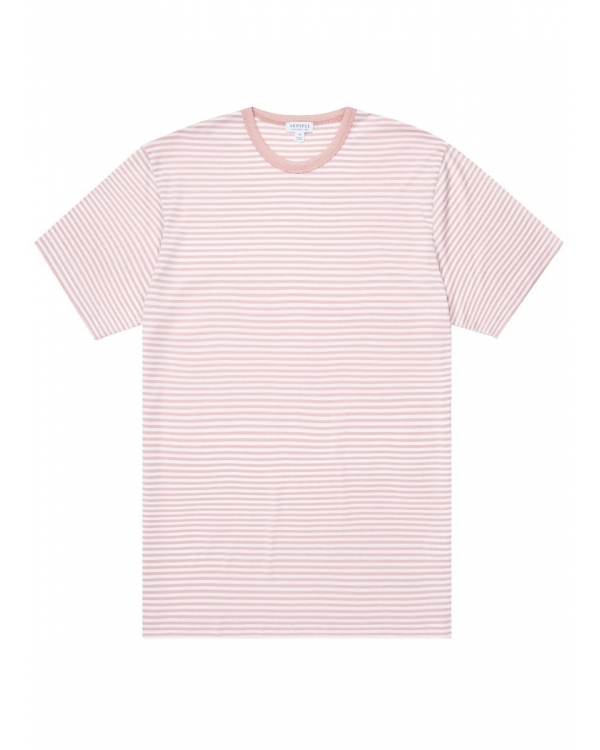 Men's Classic Cotton T-Shirt in Dusty Pink/White English Stripe