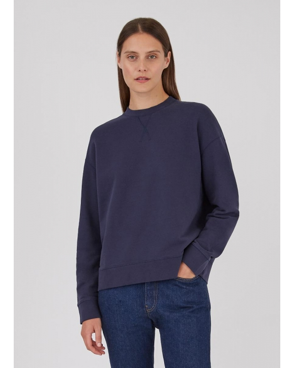 Women's Cotton Loopback Relaxed Sweatshirt in Navy