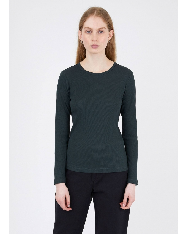 Women's Rib Long sleeve T-shirt in forest
