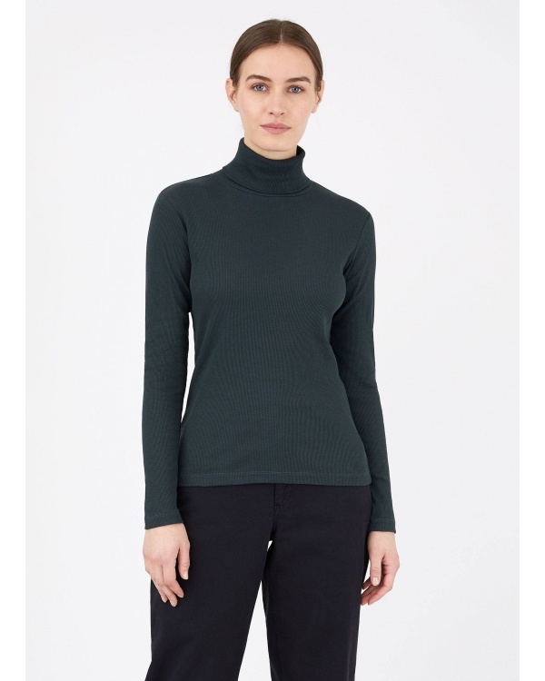 Women's Rib Roll Neck T-shirt in Forest