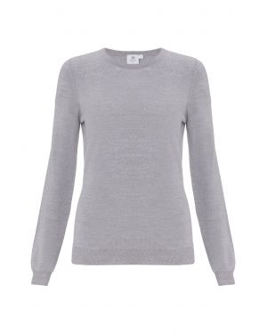 Women's Fine Merino Jumper in Grey Melange