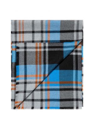 Extra Fine Merino Wool Scarf in Blue/Orange Check