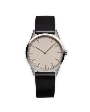 Uniform Wares C35 Watch in Polished Steel with Black Cordovan Strap