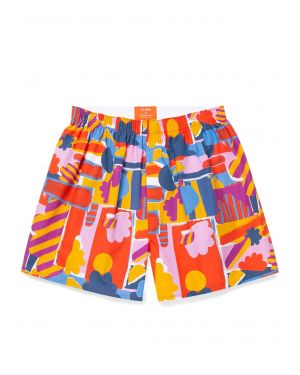 John Booth and Sunspel Men's Printed Cotton Boxer Shorts in Sun & Clouds