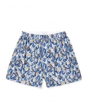 Men's Printed Cotton Boxer Shorts in Liberty Blue Peaks