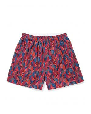 Men's Printed Cotton Boxer Shorts in Liberty Red Peaks