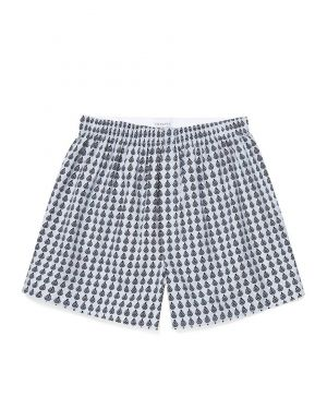 Men's Printed Cotton Boxer Shorts in Light Blue Steel Pine Cone Geo