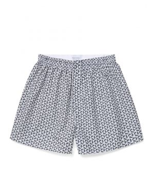 Men's Printed Cotton Boxer Shorts in White/Navy/Pale Grey Fern Leaf