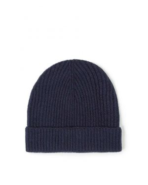 Cashmere Rib Hat in Navy