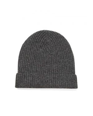 Cashmere Rib Hat in Charcoal Marl