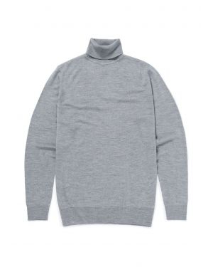 Men's Fine Merino Wool Roll Neck Jumper in Grey Melange
