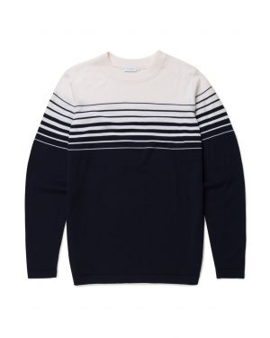 Men's Fine Merino Wool Stripe Jumper in Navy