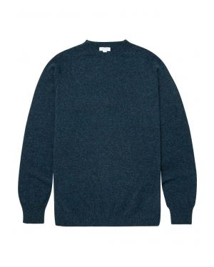 Men's Lambswool Crew Neck Jumper in Dark Petrol
