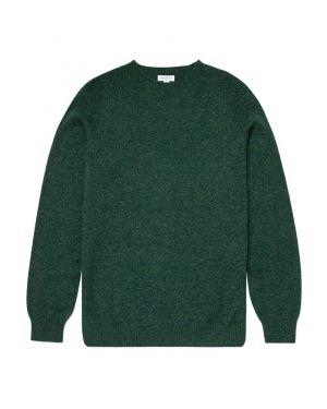 Men's Lambswool Crew Neck Jumper in Pine Melange