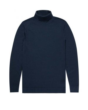 Men's Fine Merino Wool Roll Neck Jumper in Light Navy