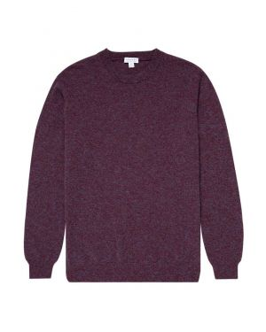 Men's Cashmere Crew Neck Jumper in Merlot Melange