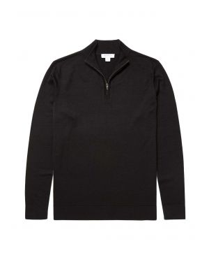 Men's Fine Merino Wool Zip Neck in Black