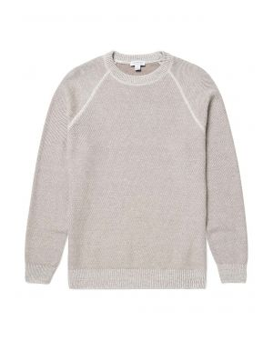Men's Cotton Linen Textured Jumper in Oatmeal
