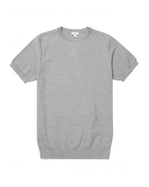 Men's Cotton Fine Texture Knitted T-Shirt in Pale Grey Mouline