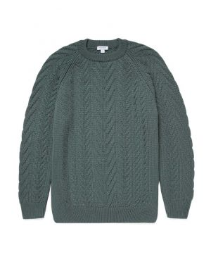 Men's Merino Wool Chunky Cable Knit Jumper in Dove Grey
