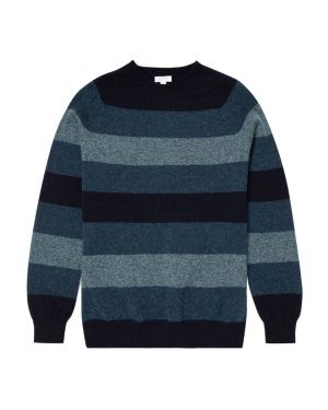 Men's Lambswool Crew Neck Jumper in Dark Petrol/Dove Grey Block Stripe