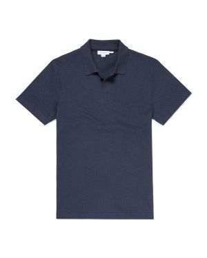 Men's Cotton Eyelet Stitch Buttonless Polo in Navy