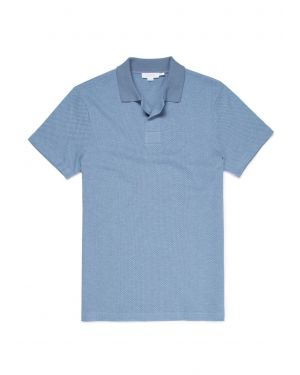 Men's Cotton Eyelet Stitch Buttonless Polo in Airforce Blue