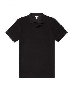 Men's Organic Cotton Towelling Relaxed Fit Polo Shirt in Black