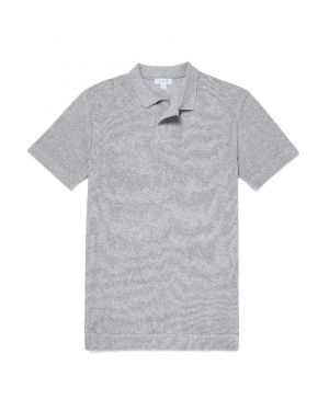 Men's Organic Cotton Towelling Relaxed Fit Polo Shirt in Grey Melange