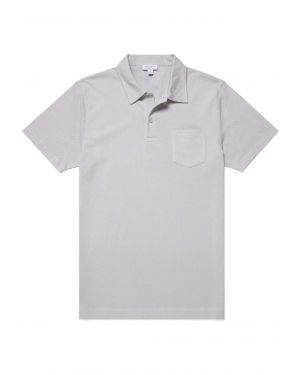 Men's Cotton Riviera Polo Shirt in Pale Grey