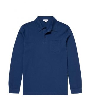Men's Cotton Riviera Long Sleeve Polo Shirt in Midnight