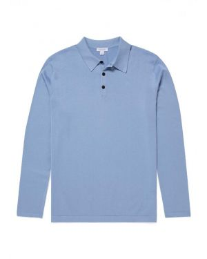 Men's Sea Island Cotton Knit Long Sleeve Polo in Washed Denim