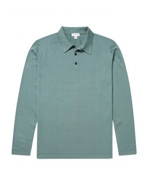 Men's Sea Island Cotton Knit Long Sleeve Polo in Sage