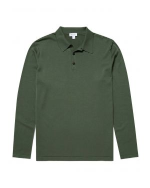 Men's Sea Island Cotton Knit Long Sleeve Polo in Pine