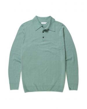 Men's Fine Merino Wool Polo in Mint