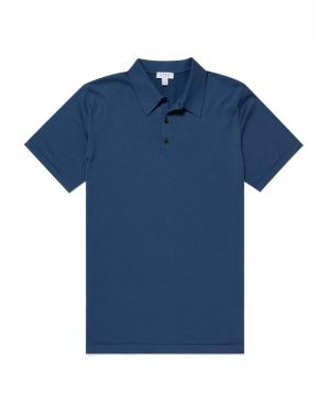 Men's Sea Island Cotton Knit Polo in Smoke Blue