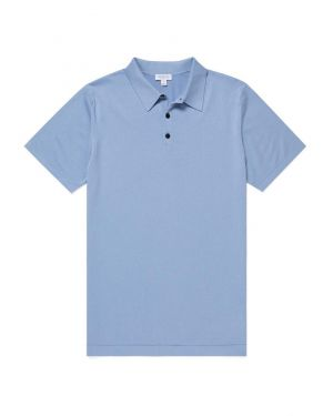 Men's Sea Island Cotton Knit Polo in Washed Denim