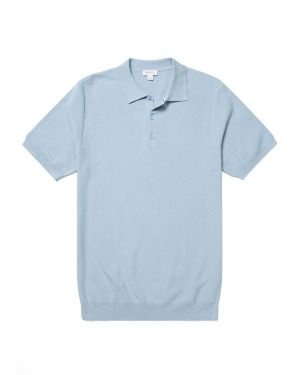 Men's Cotton Fine Texture Knitted Polo Shirt in Blue Sky