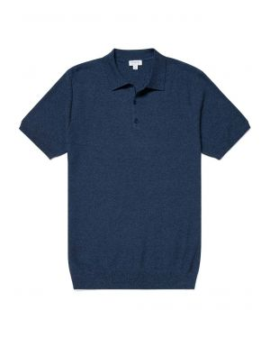 Men's Cotton Fine Texture Knitted Polo Shirt in Blue Twist