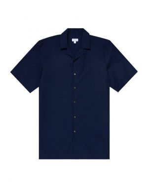 Men's Sea Island Cotton Camp Collar Shirt in Navy
