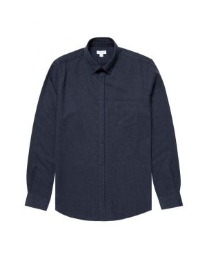 Men's Brushed Flannel Button-Down Shirt in Navy Melange